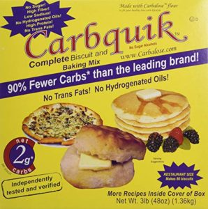 Box of Carbquik Biscuit and Baking Mix in a yellow packaging.